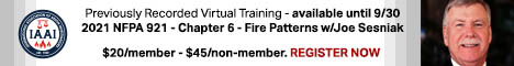 Previously Recorded Virtual Training - 2021 NFPA 921 - Chapter 6 - Fire Patterns with Joe Sesniak